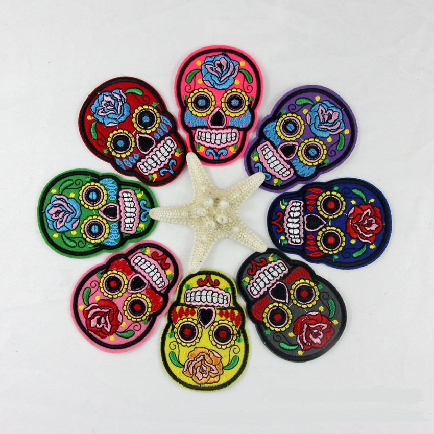 P138 10PCS Colorful Mixed Flower Skull Skeleton Patches iron on or sew for clothes embroidered appliques DIY accessory bag badge(China (Mainland))