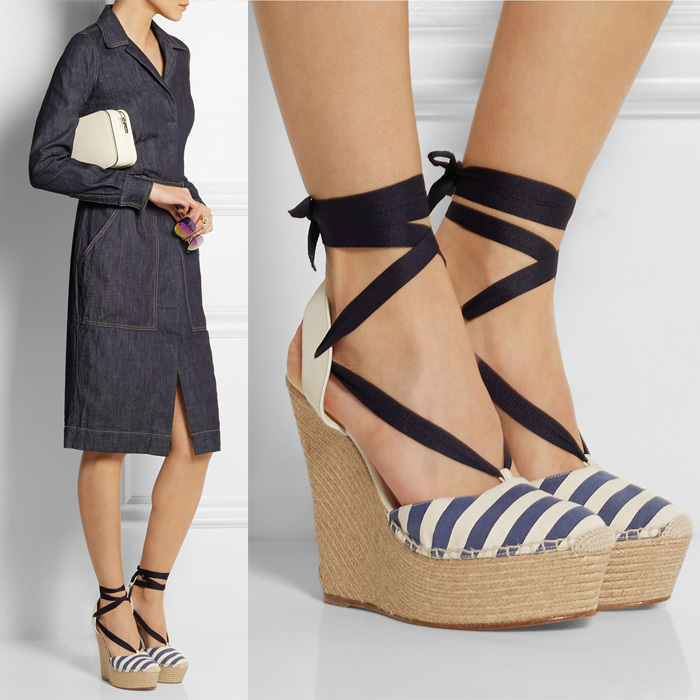 superstar celebrity style fashion wedge sandals ankle tie lace up summer shoes women high heels