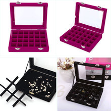 24 Grids Black Rose Red Velvet Jewelry Box Rings Earrings Necklaces Makeup Holder Case Organizer Nail Art Tool Set Equipment(China (Mainland))