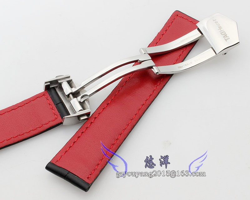 20 мм 22 мм мужские черный красный шить черного картины аллигатора натуральная кожа часы группы ремень браслеты