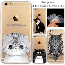 New Arrival Soft TPU Protective Cases Clear Cat  Animals Cover Case For iphone 4 4s 5 5c 5s 6 6s plus