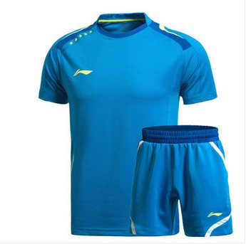 Free shipping 2014 LI-Ning Sports Leisure Badminton Men's Shirt Tennis Clothes Shirt+shorts(China (Mainland))