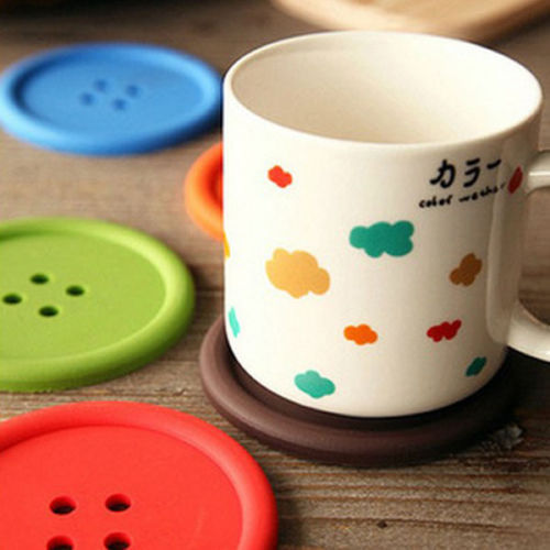 5Pcs Cute Colorful Silicone Button Coaster Cup Cushion Holder Drink Placemat Mat(China (Mainland))