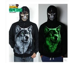 Free Shipping.sport cotton Brand warm street men cool Hoodies,men's party hip hop wolf  luminous Sweatshirt,tracksuit 3D,(China (Mainland))