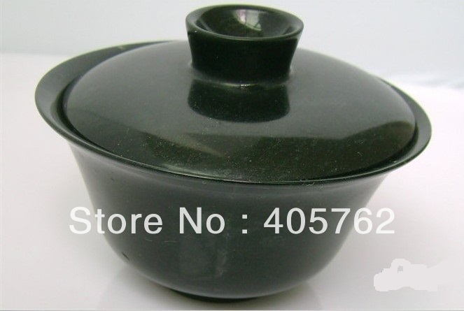 Hand-carved.Natural dark green jade cup, practical health care cup (decorations) 52x90mm(China (Mainland))