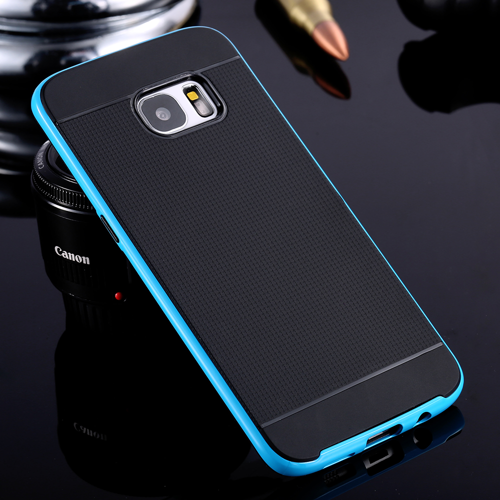 S7 Edge Cases!! With Brand Logo Cool Black Super Thin Armor Case For Samsung Galaxy S7 Edge Hybrid Plastic Frame + Rubber Cover(China (Mainland))