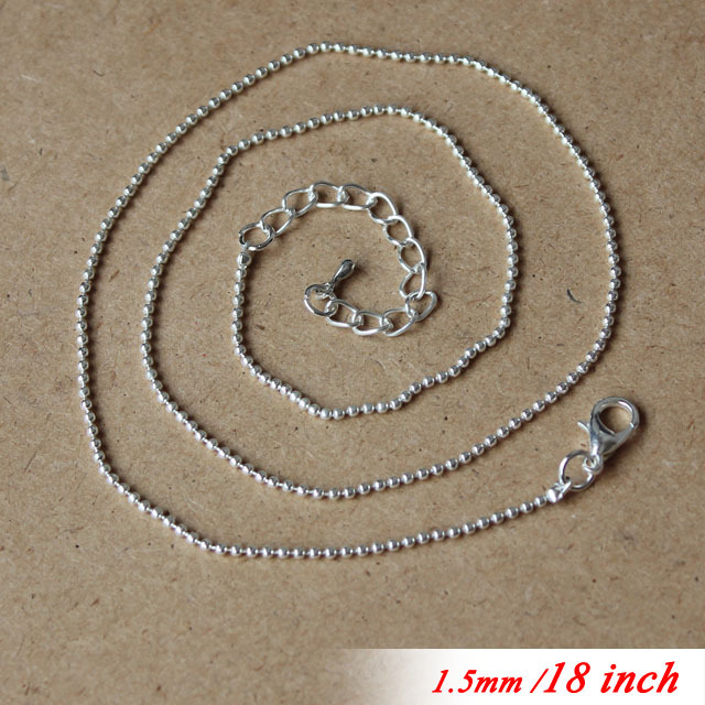 "Здесь можно купить  18"" For Fashion Necklace Chains Pendants 1.5mm Silver Sterling Jewelry Ball Beads Links With Lobster Clasps Extended Tear Drops  Ювелирные изделия и часы"