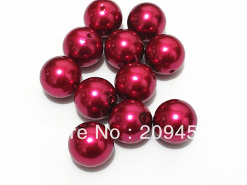 Wholesale !! 20mm 100pcs/lot Burgundy Pearls  For Chunky Kids Necklace