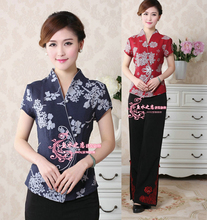 Free Shipping!Big Discount!Wholesale And Retai Chinese Tradition Women's Cotton Shirt  Blouse Tops M-4XL WS0024(China (Mainland))