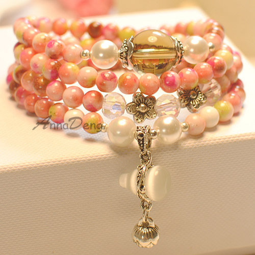 Fashion bracelets simple noble round natural stones jewelry ladies women classical style AB873 - AnnaDeng Jewelry store