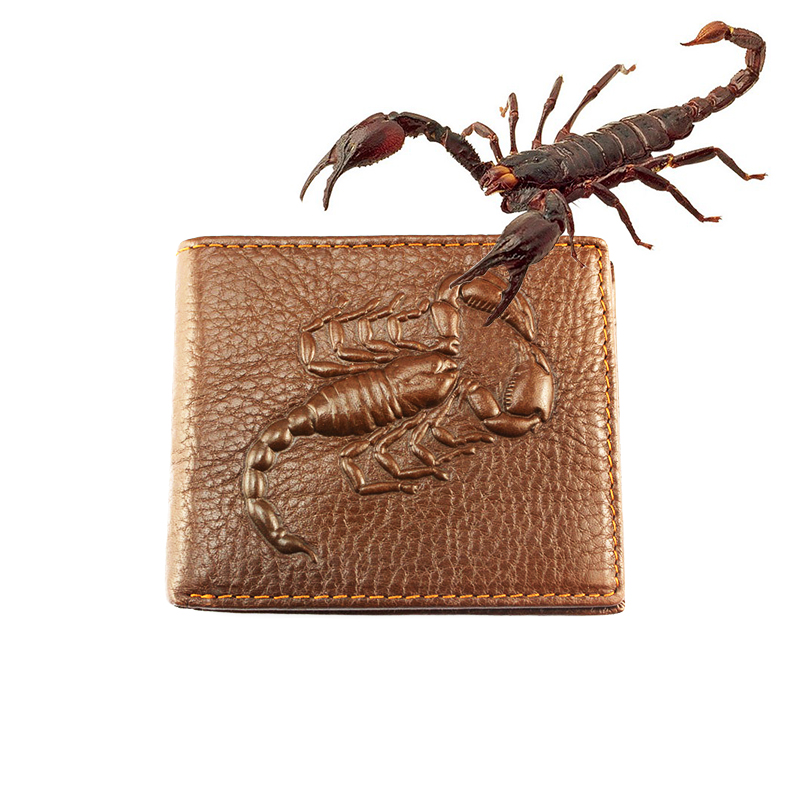 Scorpion pattern wallet men Cool wallets leather genuine Top Quality Assurance male purse(China (Mainland))