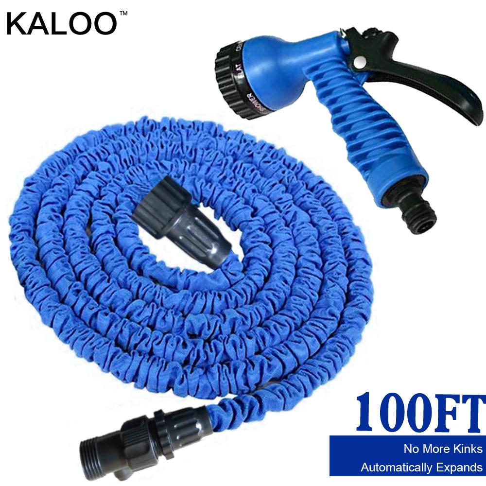 KALOO 100FT garden water hose natural rubber garden supplies with blue spray gun flexible scalability hose kitchen accessories.(China (Mainland))