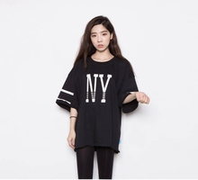 2016 New Women's Summer T-Shirt Short Loose Letters Printed Tee Basic Bottoming Half-sleeve Tops 3 Colors Free Shipping