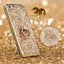 Buy New 3D Rugged Flower Glitter Diamonds Phone Back Plating Case iPhone 7 7plus TPU Soft Ring Holder Cover iPhone 6 6S Plus for $3.60 in AliExpress store