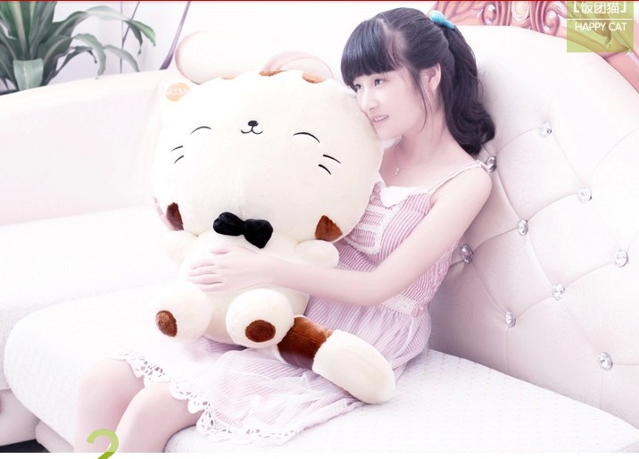 stuffed animal lucky cat tie soft hello kitty white plush toy 40cm about 15 inch doll wt6899(China (Mainland))