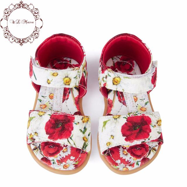 Обувь девушки сандалии 2016 летние детские сандалии для девочек принцесса мак цветочный принт желе обувь дети сандалии