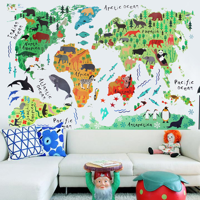 On Sale Colorful Animals World Map Wall Stickers For Kids Rooms 60*90Cm Fashion Cute Cartoon Pvc Wall Decals Creative Background(China (Mainland))