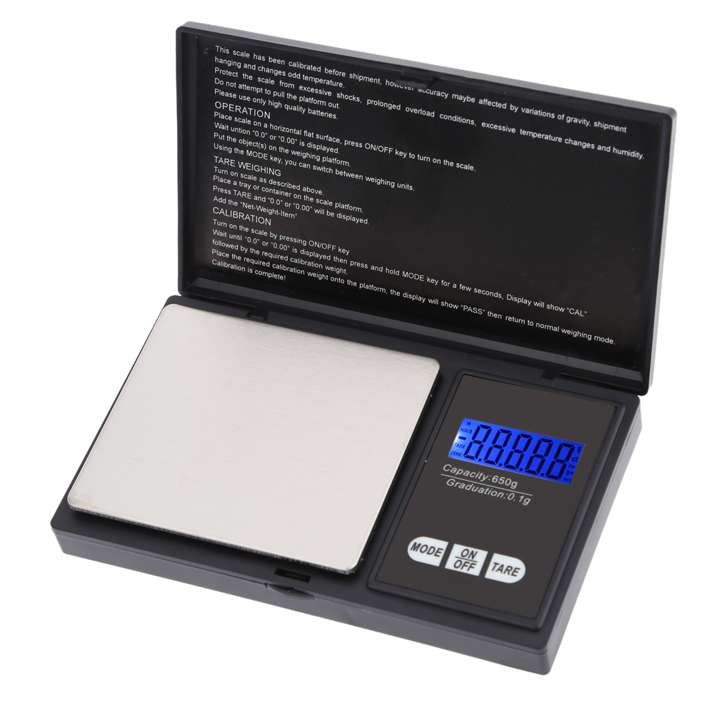 Accurate Mini Electronic Scale Digital Pocket Scale Jewelry Weighing Balance Portable 650g/0.1g Blue LCD g/gn/oz/ozt/ct/t/dwt(China (Mainland))