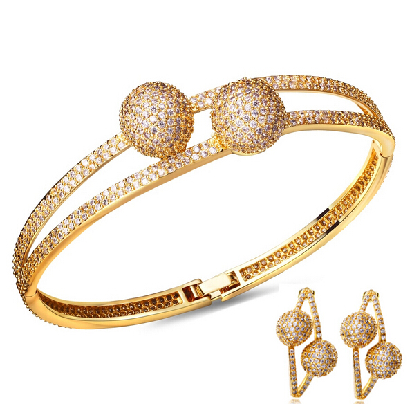 Elegant Bangle and earrings sets Jewelry for party Gold/ Platinum Zirconia bridal sets fine jewelry Set earrings and bracelet<br><br>Aliexpress