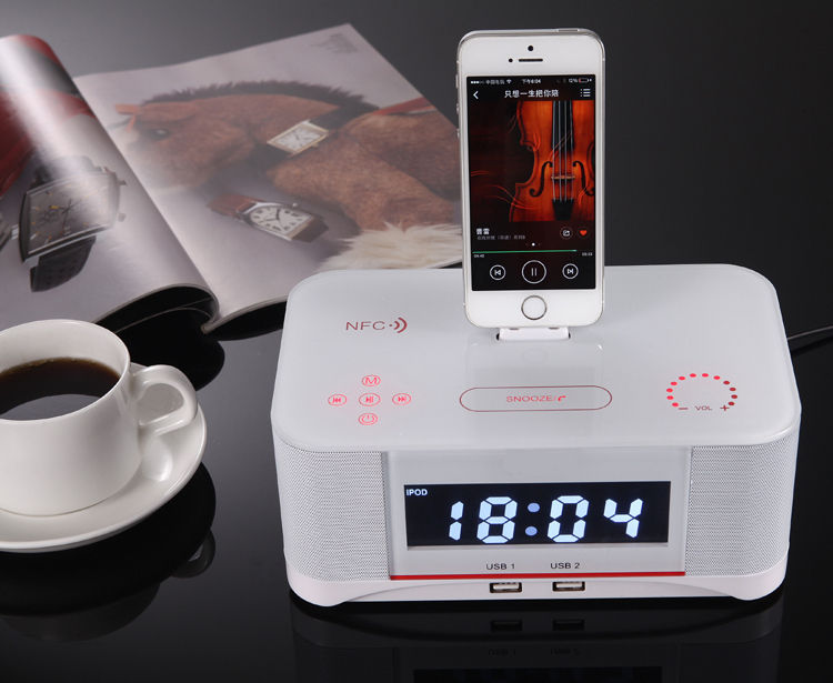 New High-Class NEW NFC Lighting Alarm bluetooth Speaker Dock Docking Station for iPhone 5s/5c/5 MP3 A8(China (Mainland))