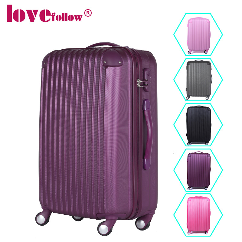 Womens/Mens Pure Color ABS+PC Travel Suitcase 20''/24''/28'' Spinner Wheels Traveller Luggage Large Capacity Cases - Fashion Bags Store store
