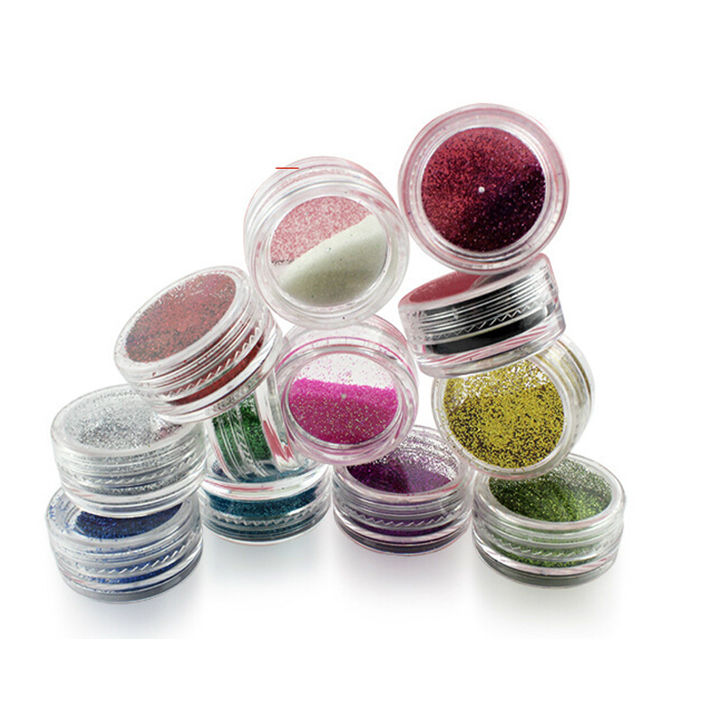 12pcs/lot Body Glitter Powder Shimmer Glitter Tattoos Powder Colors Acrylic Glitter Dust Decoration paillettes corps