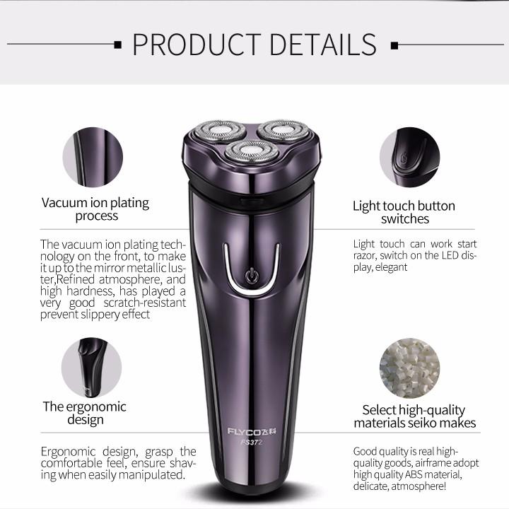 Lavável Barbeador Elétrico FLyco de Corpo Profissional para Os Homens com duração de 45 Minutos Recarregável barbeador Elétrico Cabeças Flutuantes 3D FS372