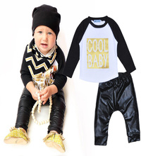 2016 baby set summer Bobo choses baby boys girls kids Sets cool baby Pattern of the letters t-shirt+pants 2pcs suit Clothing Set