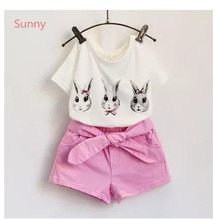 Clothing Set Promotion Set Coat Baby Special Offer Family Mickey Female Child 2015 Children's Rabbit Short-sleeve Lacing Shorts