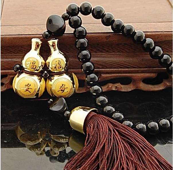 Gold Plated Double Gourd Glass Beads Amulet for Safe Driving Lucky Blessing Car Pendant Car Adornment(China (Mainland))