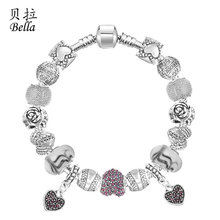 Love Heart Charms Beads Bracelets Wholesale For Valentine's day Gift(China (Mainland))