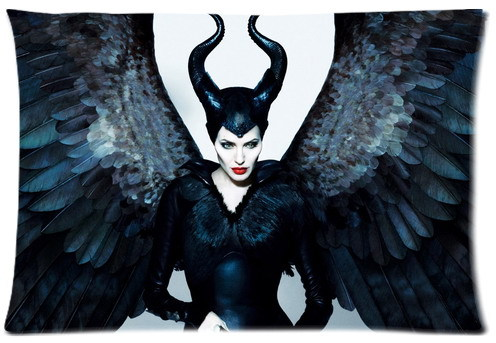2014 aggressively released 3D movie Maleficent leading actress Angelina Jolie pattern printed pillow case hot sale Cushion Cover(China (Mainland))