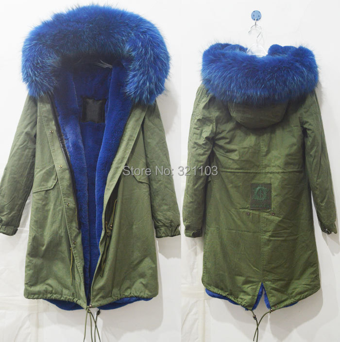 Long style winter warm coat Mrs Mr fur parka big blue real collar coats outerwear - foxfurs store