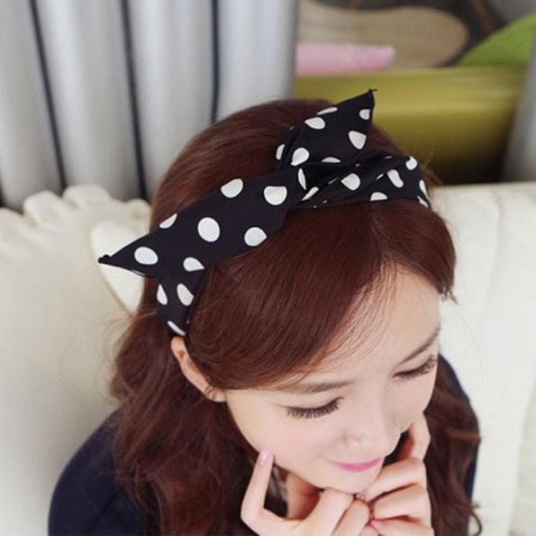 1 X Korean Cute Bunny Rabbit Ear Ribbon Headwear Metal Wire Scarf DIY Hair Head Band Colorful Style Hair Band Accessories(China (Mainland))