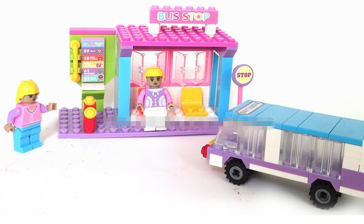 Bus Toys For Girls : Boys girls bus stop model building kits waiting