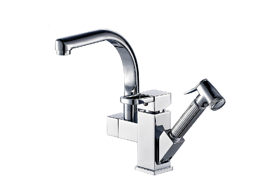 Chrome Brass Kitchen Faucet Pull Out Sprayer Vessel Bar Sink Faucet ...
