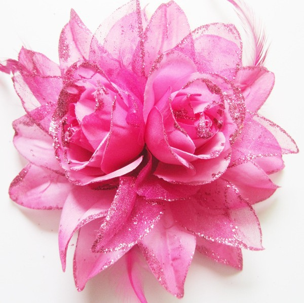 Free Shipping mix color 6'' Chiffon Flowers Hairclip DIY Fabric Flower Girl's Hair Accessories Handmade Flower FFCD025026(China (Mainland))