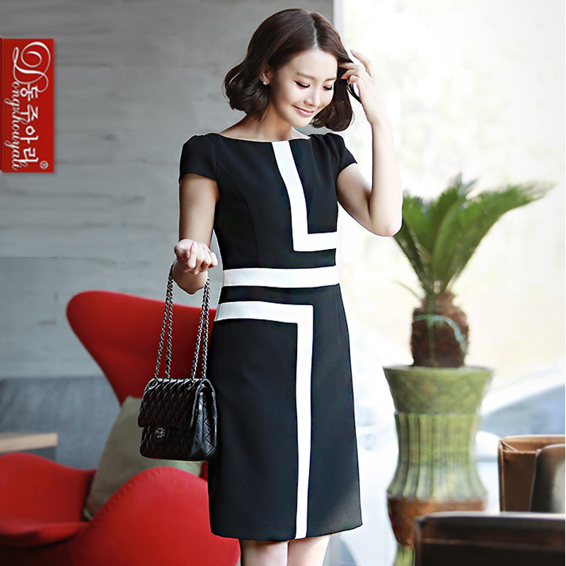 Summer plus size elegant short -sleeved lady dress women's color block geometry slim one-piece - Fashion and Romantic Store store