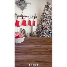10ft vinyl print 3D Xmas tree wood floor house photography backdrops for kids & family photo studio portrait backgrounds ST-594(China (Mainland))