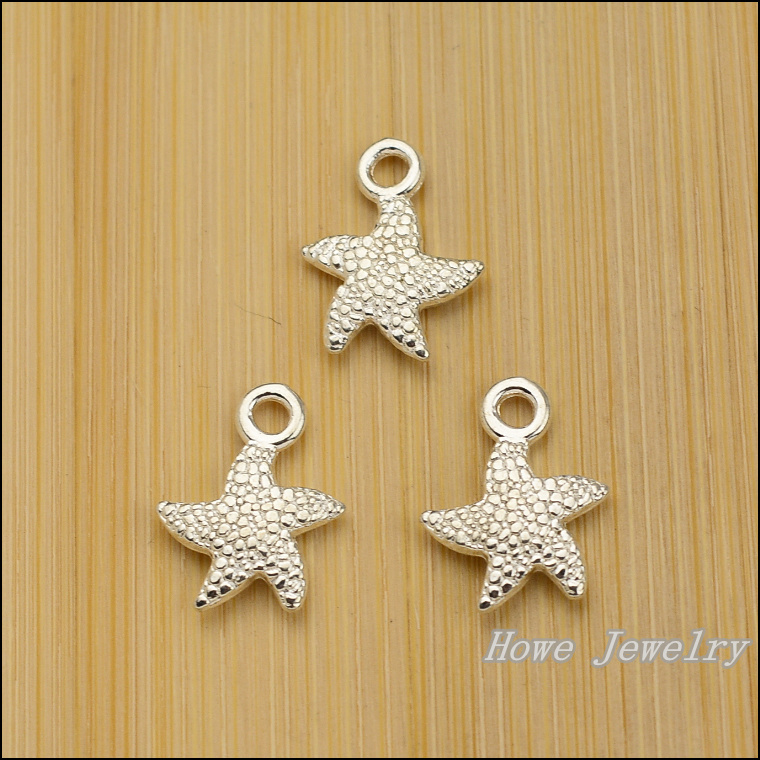 40 pcs quality Bright silver Starfish alloy Pendant Charm Women's Fashion Bracelet DIY Jewelry Findings JC-727