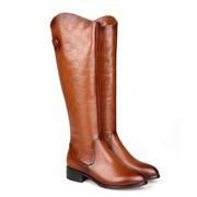 Fashion Sweet Flowers Genuine Leather Women Boots Flat Snow Long
