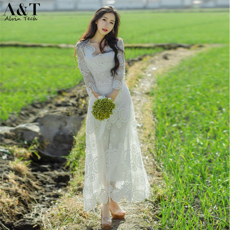 Women Floral Crochet White Lace Dresses 2016 Summer Holiday Casual Cute Sexy Elegant Cutout Hollow Out Long Maxi Vestidos(China (Mainland))