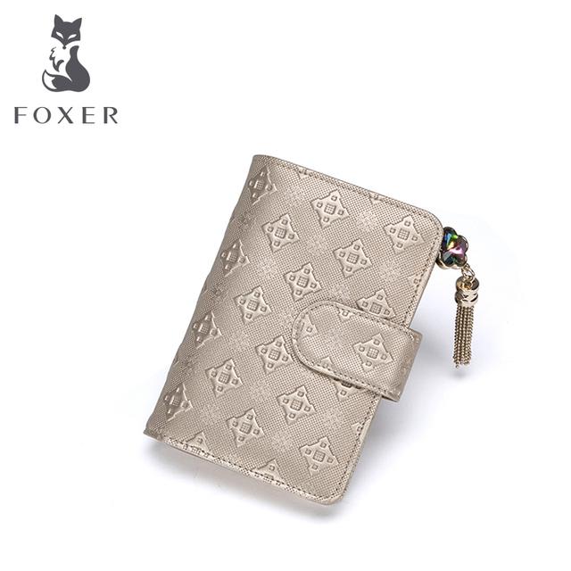 FOXER Новый Женщин Кожа Короткий Стиль Бумажник Роскошные Женщины Кошелек Девушка держателя Карты и Кошельки