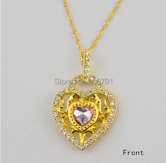 Newest elegant 30pcs a lot Zinc Alloy Gold Plated pink Crystal Heart  Pendant Necklace Jewelry(China (Mainland))