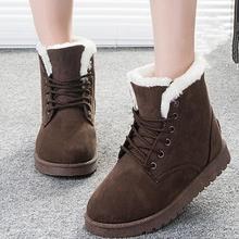 Botas Femininas Mujeres Atan Para Arriba Cargadores Del Tobillo de Piel de Las Mujeres Zapatos de Invierno Cálido Botas de Nieve Femenina(China (Mainland))
