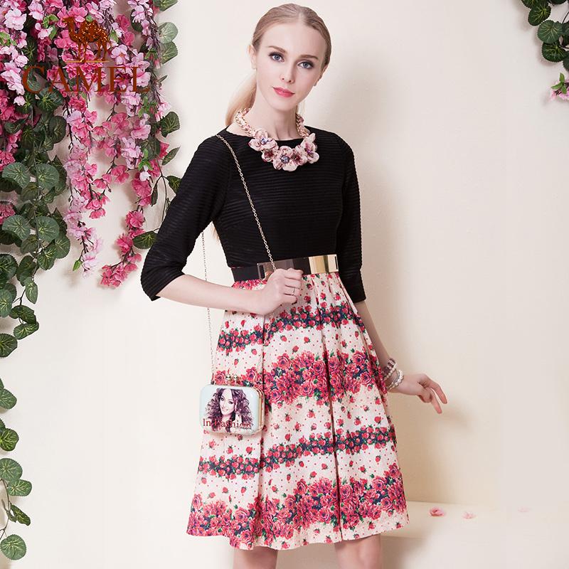 Camel women skirts 2016 new design three quarter sleeve dress knee floral print skirt one-piece dress for girl