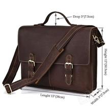 Free Shipping Crazy Horse Leather One shoulder briefcase Vintage Men's Real leather laptop bag(China (Mainland))