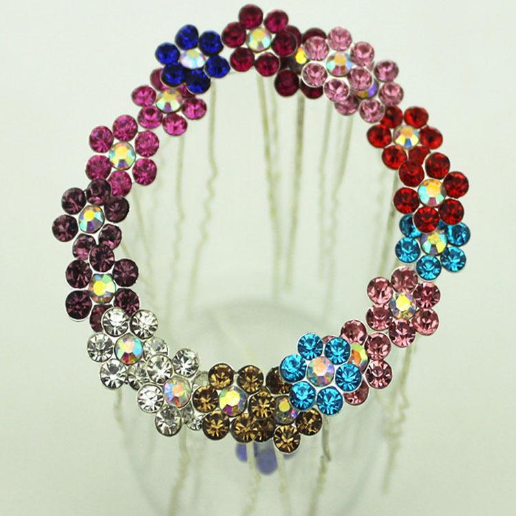 10 Pcs/lot Women Wedding Bridal Hair Pins Crystal Mini Flower Rhinestone Barrette Hair Clips Hairpin Head Accessories 9 Colors(China (Mainland))
