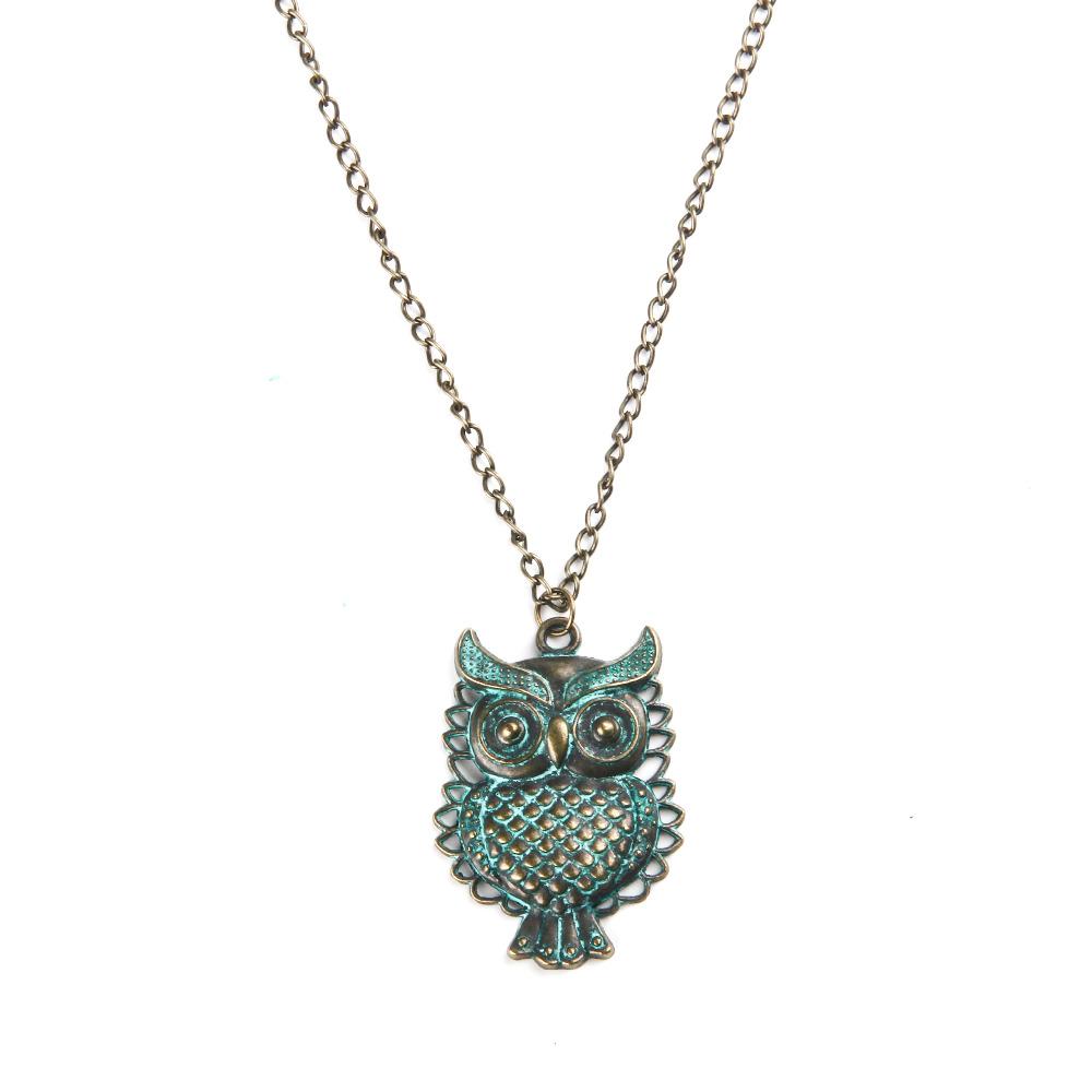 Ocean Jewelry Owl Retro Vintage Pendant Necklace Green Color Men Women Necklace Unisex Jewelry(China (Mainland))