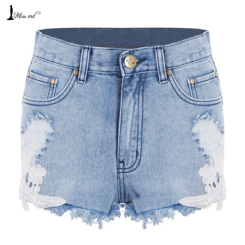 Free Shipping 2016 Sexy lace stitching denim shorts FT1863(China (Mainland))